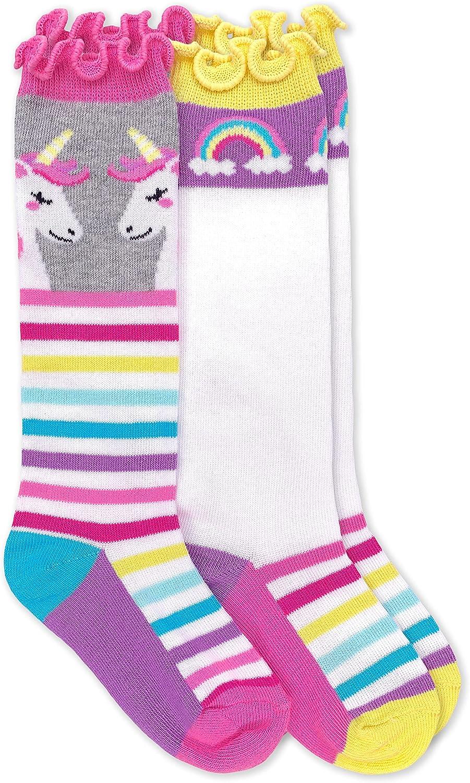 Jefferies Socks girls Unicorn Rainbow Stripe Ruffle Knee High Socks 2 Pack
