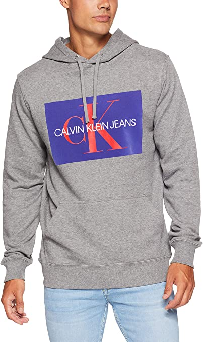 CALVIN KLEIN Jeans Men's Monogram Flock Box Hoodie, Grey Heather/Spectrum Blue