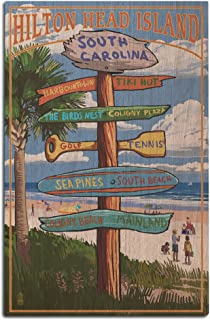 Lantern Press Hilton Head Island, South Carolina - Destinatios Sign (12x18 Wood Wall Sign, Wall Decor Ready to Hang)
