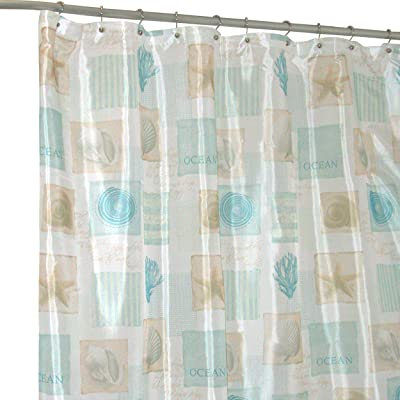 Famous Home Fashions Seaside White/Blue Shower Curtain