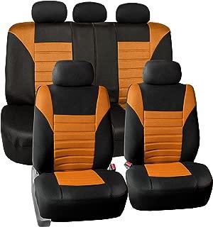 FH Group FB068ORANGE115 Orange Universal Car Seat Cover (Premium 3D Air mesh Design Airbag and Rear Split Bench Compatible)