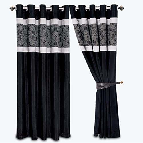 Black and White Ring Curtains for Bedroom: Amazon.co.uk