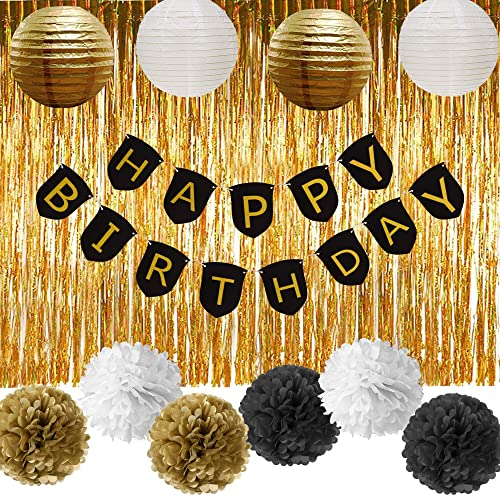 Paxcoo Black And Gold Party Decorations With Happy Birthday Banner For 18th 21st 30th