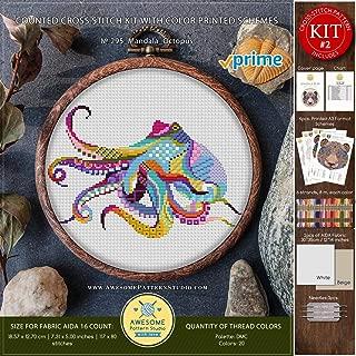 Mandala Octopus #K295 Embroidery Cross Stitch Kit | Funny Animals Stitching | How to Cross Stitch | Needlepoint Kits | Embroidery Designs