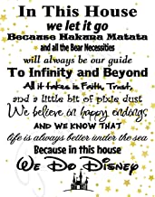Simply Remarkable in This House We Do Disney - Poster Print Photo Quality - Made in USA - Disney Family House Rules - Ready to Frame - Frame not Included (11x14, White with Stars Background)