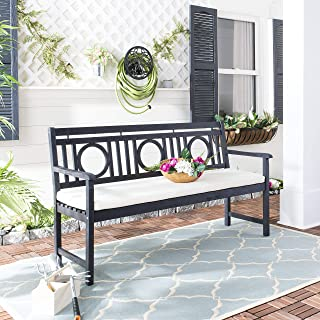 Safavieh PAT6736K Outdoor Collection Montclair Dark Slate Grey and Beige 3 Seat Bench, Gray