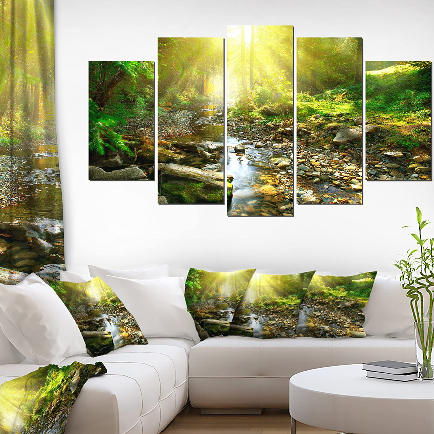 Design Art Mountain Stream in Forest-Landscape Photo Canvas Print-60x32 5 Piece, 60x32-5 Panels Diamond Shape Green