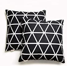Eat,Drink,Live Throw Pillow Cushion Cover case 100% Cotton, Geometric Printed,18x18 2 pcs Set with Zipper