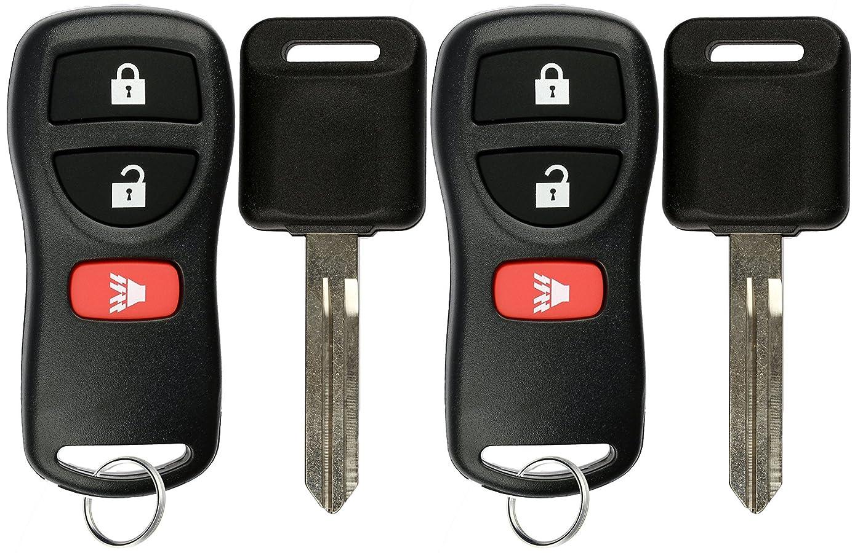 KeylessOption Keyless Entry Remote Fob Uncut Car Ignition Key For Nissan Infiniti KBRASTU15 (Pack of 2)