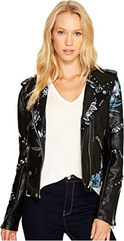 Black Vegan Leather Moto Graphic Studded Jacket in Teen Dream