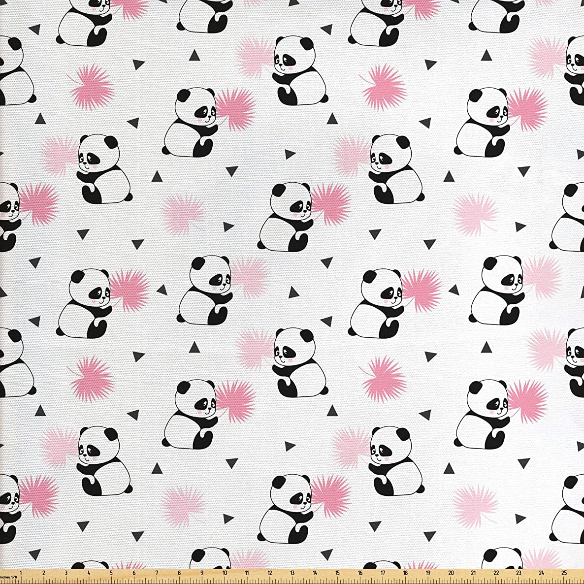 Lunarable Panda Fabric The Yard, Childrens Cartoon Style Bear Drawings Pink Foliage Leaves Chinese, Decorative Fabric Upholstery Home Accents, 2 Yards, Pale Pink Rose Black
