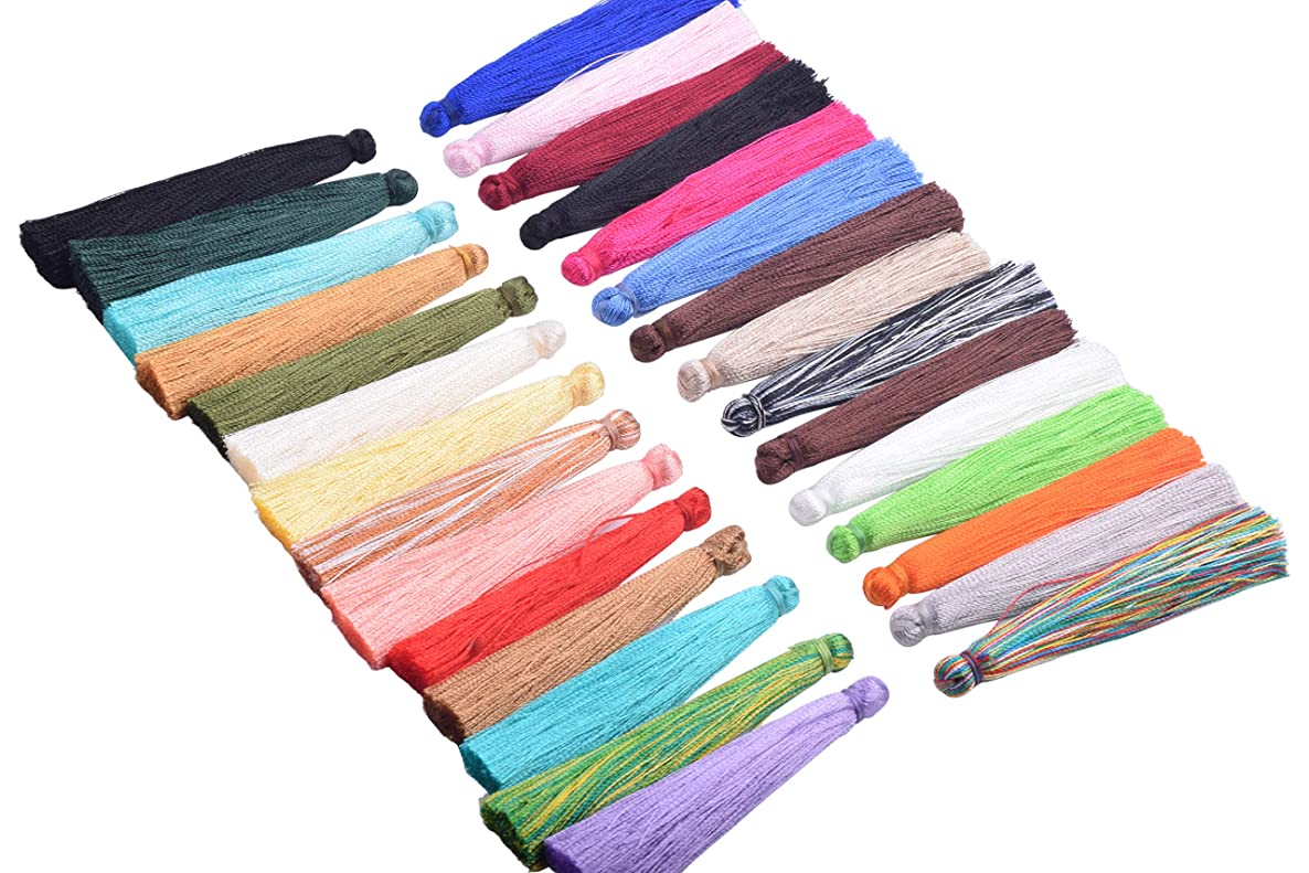 KONMAY 20PCS 2.2''(5.5cm) Soft Handmade Silky Craft Fiber Tassels for DIY Projects (Mixed Randomly)