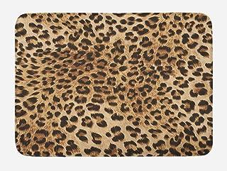 Ambesonne Leopard Print Bath Mat, Skin Pattern of a Wild Safari Animal Powerful Panthera Big Cat, Plush Bathroom Decor Mat with Non Slip Backing, 29.5