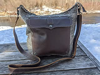 LB12 Women Outdoors Rustic Country Large Real Leather Cross Body Real Leather Hair-On Purse Real Leather Handmade Bag