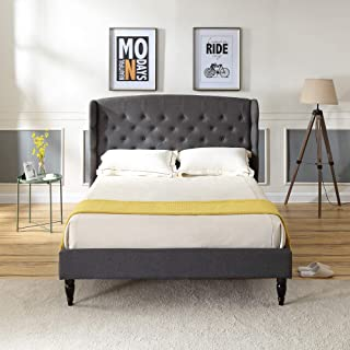 Brighton Upholstered Platform Bed | Headboard and Wood Frame with Wood Slat Support | Grey, Queen