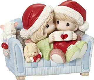 Precious Moments I Love You with My Whole Heart Couple On Couch with Hot Cocoa Figurine