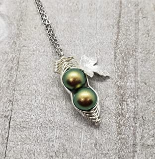 Silver Leaf Swarovski Birthstone Pearl for AUG Peapod Necklace, Green 2 Peas in a Pod Necklace, Best Friend Gift, Birthday Gift (AUG)