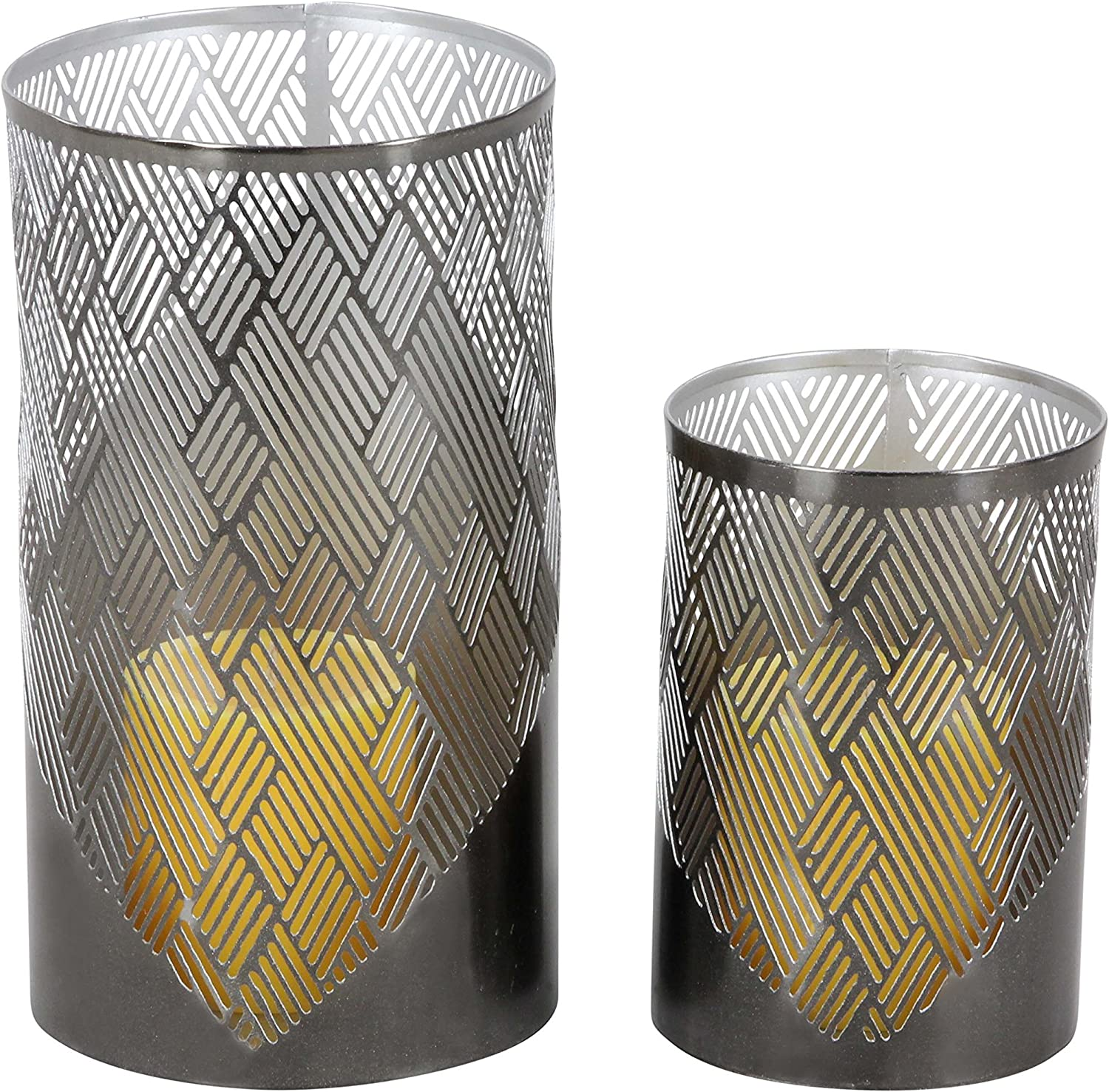 Deco depot 79 57363 Inventory cleanup selling sale Lattice Pattern Cylindrical Candle Holders 9 x 6