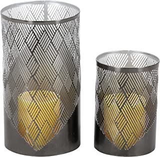 Deco 79 57363 Lattice Pattern Cylindrical Candle Holders, 6