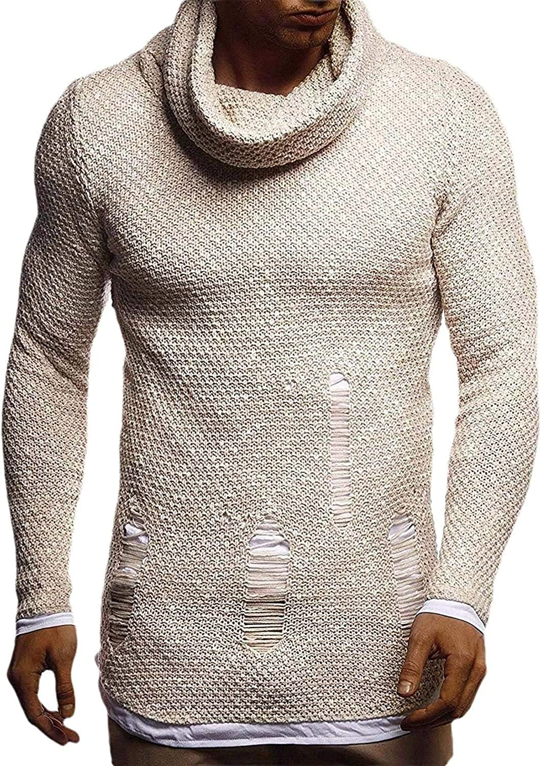 QNMGB Men Max 61% OFF Pullover Cable Knit Long Seattle Mall Swea Turtleneck Ripped Sleeve