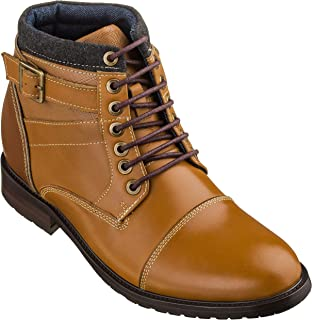 CALTO Men's Invisible Height Increasing Elevator Shoes - Brown Leather Lace-up Cap-Toe Ankle Boots - 3.2 Inches Taller - T5100