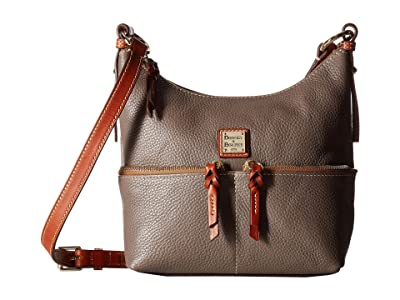 Dooney & Bourke Pebble Alyssa Crossbody (Elephant/Tan Trim) Cross Body Handbags