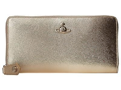 Vivienne Westwood Pimlico Zip Round Wallet (Gold) Handbags