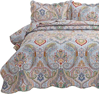 Bedsure 3-Piece Bohemia Paisley Pattern Quilted Bedspread King Size(106x96 inches), Lightweight Coverlet Quilt for Spring and Summer,1 Quilt and 2 Pillow Shams