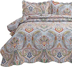 Bedsure 3-Piece Bohemia Paisley Pattern Quilted Bedspread Queen/Full Size (90x96 inches), Lightweight Coverlet Quilt for Spring and Summer,1 Quilt and 2 Pillow Shams