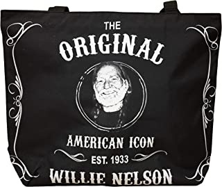 Willie Nelson Large Tote Bag - Black and White Est.