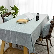Home Brilliant Striped Tablecloth (52 x 86 inch) Rectangular Tablecloth for Kitchen Faux Linen Table Cover Farmhouse Table...