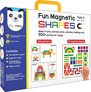 Fun Magnetic Shapes (Junior) : Type 2 with 58 Magnetic Shapes, 200 Pattern Book, Magnetic Board and Display Stand