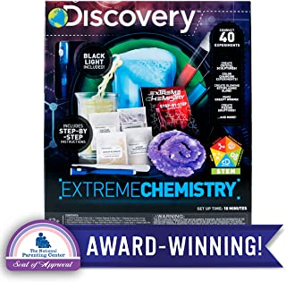 Discovery Extreme Chemistry Stem Science Kit by Horizon Group Usa, 40 Fun Experiments, Make Your Own Crystals, DIY Glowing Slime, Fizzy Eruptions, Gooey Worms & More