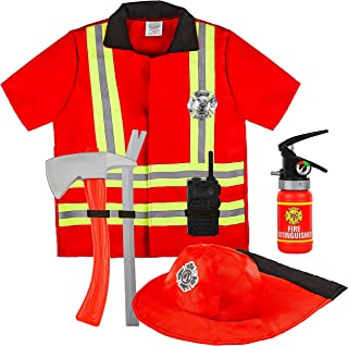 Kiddie Play Fireman Costume for Kids Pretend Play Dress Up with Complete Firefighter Accessories Red