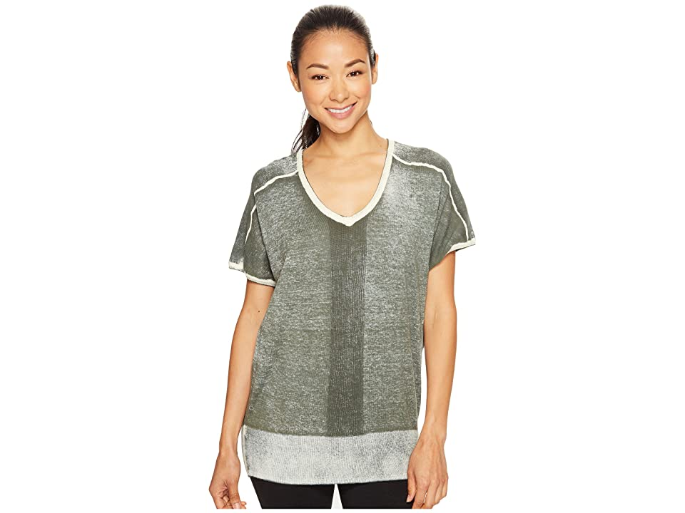 Blanc Noir Short Sleeve Float Sweater (Olive) Women