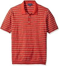 Thirty Five Kent Men's Short Sleeve Striped Slub Knit Polo