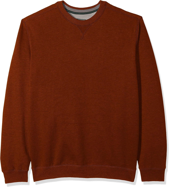 G.H. Bass & Co. Men's Big and Tall Mountain Fleece Crew Long Sleeve Sweatshirt, saffron spice heather, 3X-Large Tall
