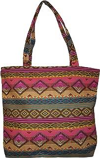 101 BEACH - Medium Size Zipper Top Beach Tote Bag (Aztec Stripe 2 Print)