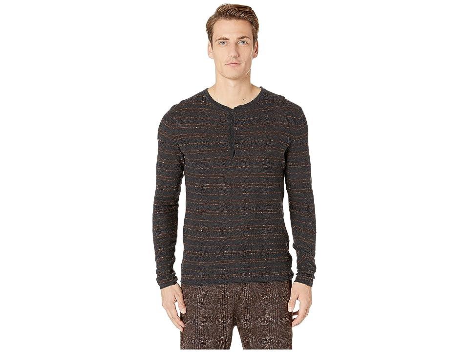Image of Billy Reid Striped Henley (Black/Rust) Men's Clothing