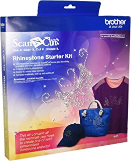 Brother CARSKIT1 Rhinestone Starter Kit, 100 Rhinestone Patterns, ScanNCut Canvas, 4 Types of Hot Fix Rhinestone, Access to Online Video Tutorials, Pick-Up-Tool & Brush