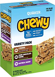 Quaker Chewy Granola Bars, 3 Flavor Back to School Variety Pack, (58 Pack)