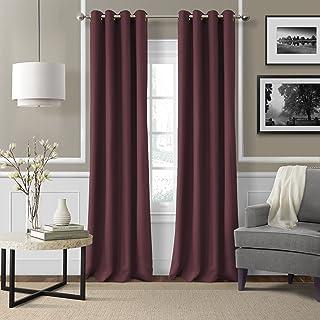 "Elrene Home Fashions 26865753493 Grommet Top Solid Linen Look Single Panel Window Curtain Drape, 50"" x 108"", Aubergine"