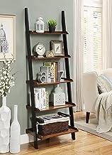 Convenience Concepts French Country Bookshelf Ladder, Dark Walnut / Black