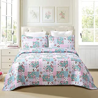 Sole & Lane Layla Patchwork 3-Piece 100% Cotton Lightweight Printed Quilt Set (Queen) | with 2 Shams Machine Washable All-Season Bedspread Coverlet