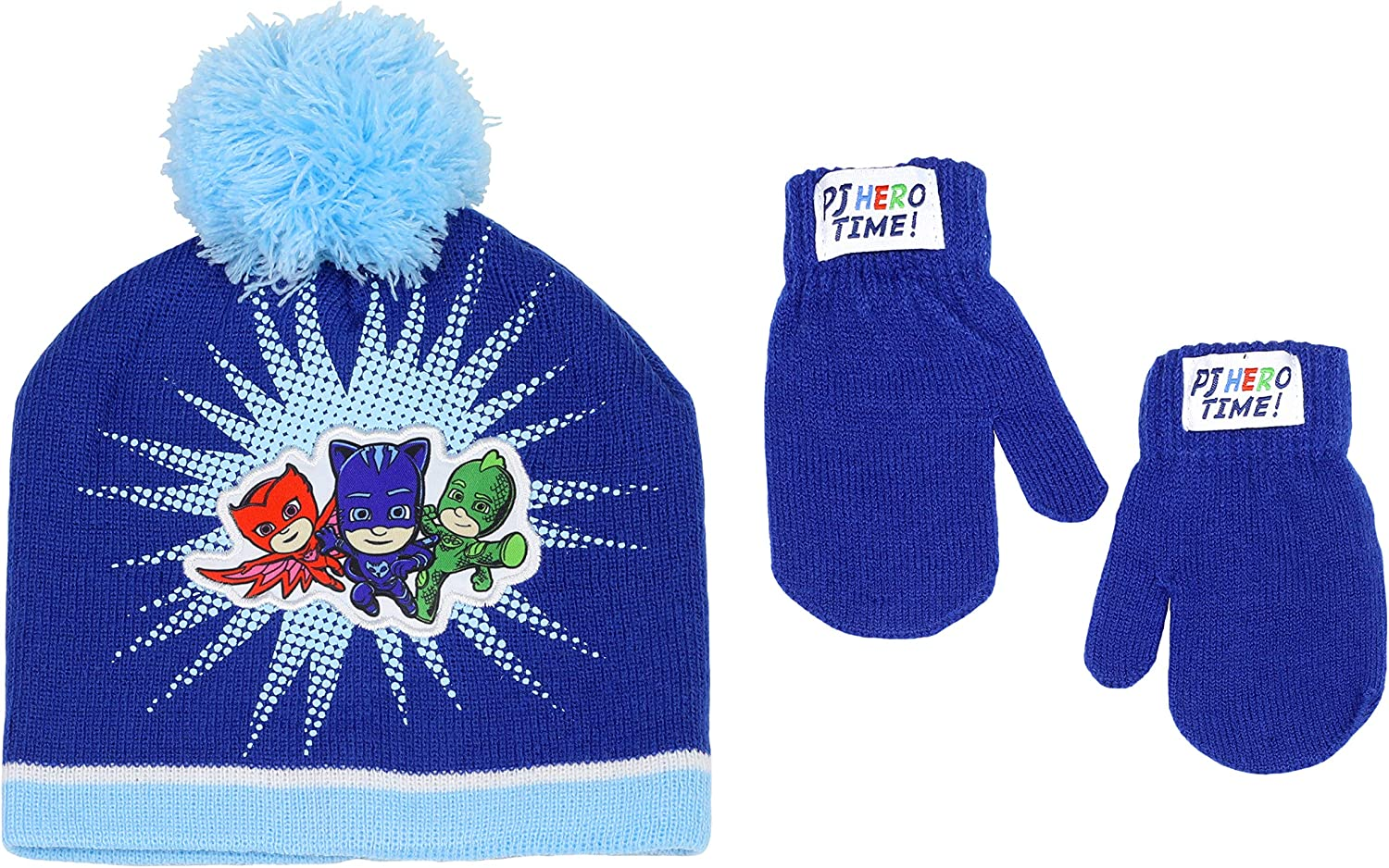 PJ Masks Toddler Boy's Assorted Characters Beanie Hat and Mittens Cold Weather Set, Age 2-5