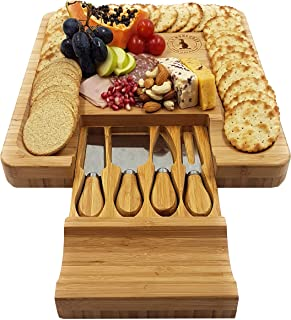 Cheese Board & Knife Set 13¼ x 13¼ inch. Hidden Drawer 4 Stainless Steel Serving Tools. Cracker Groove Large Solid Organic Bamboo Wooden Cutting Plate Serving Tray Platter. Luxury Christmas Gift Idea