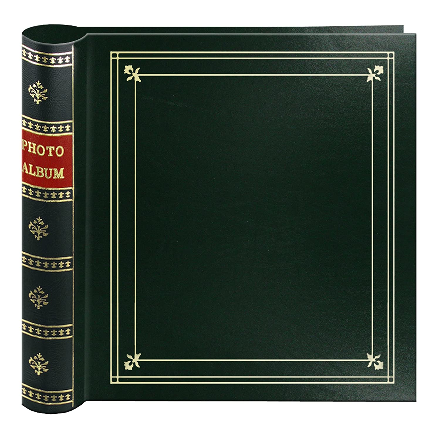 Pioneer Photo 200-Pocket Coil Bound Cover Photo Album for 4 by 6-Inch Prints, Hunter Green Leatherette with Gold Accents
