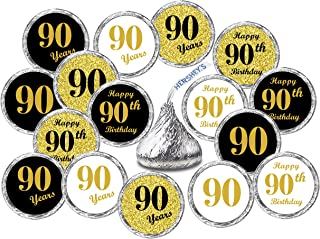 90th Birthday Kisses Stickers, (Set of 324) Chocolate Drops Labels Stickers for 90th Birthday, Hershey's Kisses Party Favors Decor, 9 Designs (36 Stickers of Each)