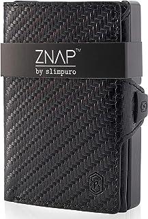 ZNAP Portafoglio porta carte di credito - in Alluminio - Protezione RFID - Pelle Carbonio - fino a 6-12 carte - portafogli...