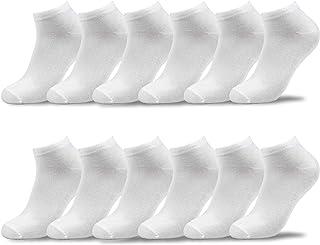 L&K Pack de 6/12 Calcetines Sneaker de deporte para Hombre Mujer Negro Blanco 92201VA